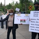 Bruce Poinsette (right) protesting in Lake Oswego. MAGE: Courtesy of Bruice Poinsette.