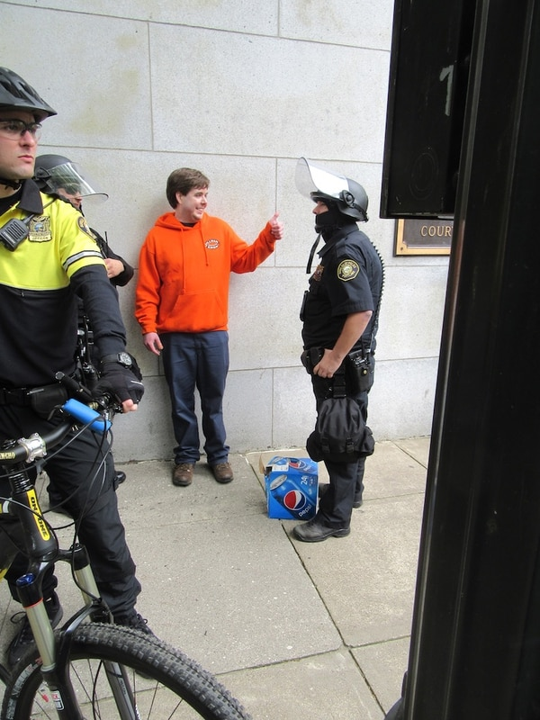 "Police confiscated this man's case of Pepsi. ""I'm one of the good guys,"" he told them. (Corey Pein)."