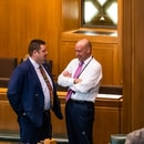 Rep. Greg Smith (right) on the floor of the Oregon House this month.(Justin Katigbak)
