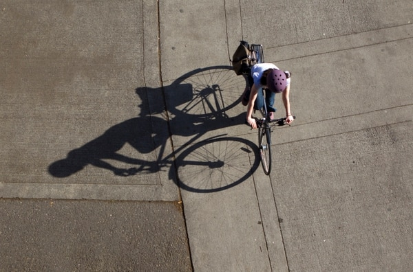Cyclist in Portland. (Natalie Behring)