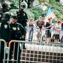 Department of Homeland Security officers guard a Patriot Prayer protest in Terry Schrunk Plaza on June 30, 2018. (Sam Gehrke)