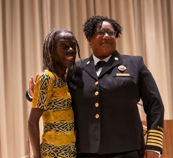Commissioner Jo Ann Hardesty (left) and Fire Chief Sara Boone. (Portland Fire & Rescue)