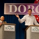 Oregon Gubernatorial hopeful for the GOP, and former Portland Trailblazer, Chris Dudley, debates Allen Alley and John Lim at the 2010 Dorchester Conference in Seaside. (Chris Ryan/WW)