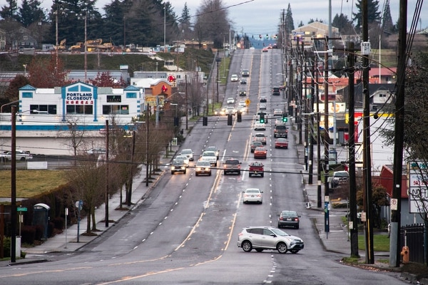 Northeast 82nd Avenue is managed by the Oregon Department of Transportation and, unlike other Portland thoroughfares, often lacks bicycle lanes. (Wesley Lapointe)