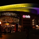 Moda Center lit in purple and gold on January 26, 2020. (Bruce Ely / Trail Blazers)