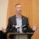 Portland Mayor Ted Wheeler at a Portland Harbor of Hope press conference. (Motoya Nakamura / Multnomah County)