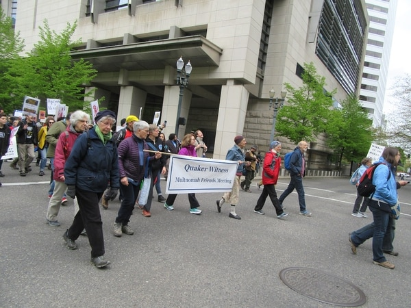 These May Day marching Quakers did not burn any newspaper boxes, as far as WW saw (Corey Pein).