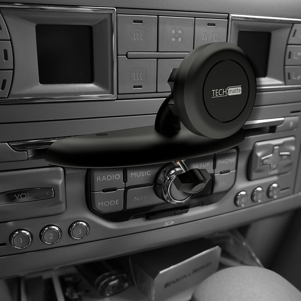 The TechMatte phone mount screws into your CD player and keeps your phone in view. (Courtesy of TechMatte)