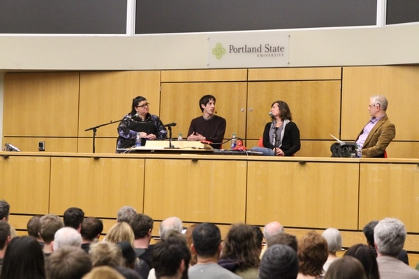 James Damore speaks on a panel at PSU. (Daniel Stindt)