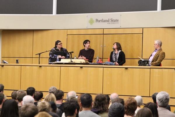 James Damore speaks on a panel at PSU. (Daniel Stindt)