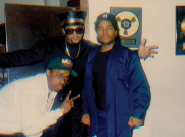 FROM LEFT: Sir Jinx, DMC and Ice Cube, 1990. IMAGE: Courtesy of Sir Jinx.