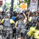 Portland police at a Sept. 10 protest. (Sam Gehrke)