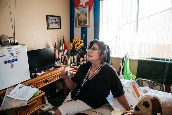 """Ana Luisa Díaz Villegos, 74, moved to the U.S. from Cuba last year. Her monthly rent is more than she receives from Social Security. """"I don't feel secure,"""" she says. (Joe Riedl)"""
