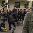 A protester attempted to pull the plug from the sound system during James Damore's appearance at PSU. (Daniel Stindt)