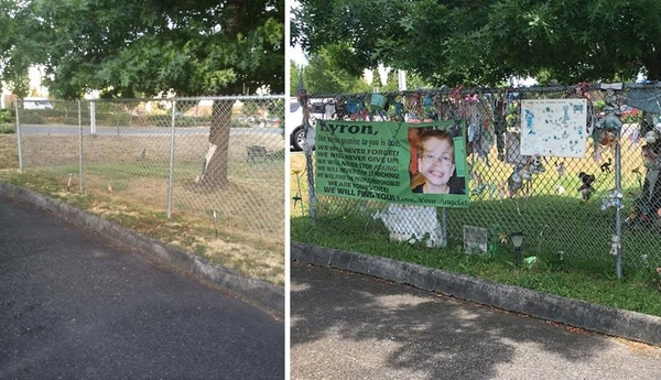 After and before at the Wall of Hope, in Beaverton.