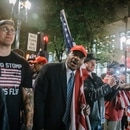 Right-wing protesters gather near Pioneer Courthouse Square on Oct. 13, 2018. (Sam Gehrke)