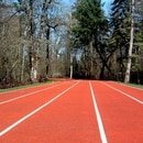 Track made from recycled shoes on the Nike campus in Beaverton. (Jodie Wilson / Flickr)