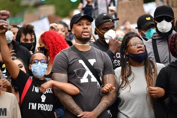 Damian Lillard marches into downtown on June 4, 2020. (Doug Brown, ACLU of Oregon)