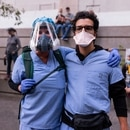 Doctors attend Portland protests in July 2020. (Wesley Lapointe)